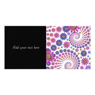 Pink and Blue Fractal Art Pattern Customized Photo Card