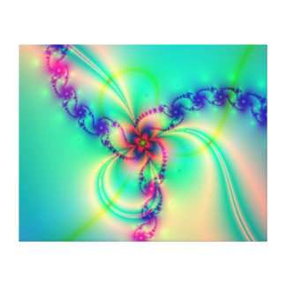 Pink And Blue Fractal Swirl Canvas Print