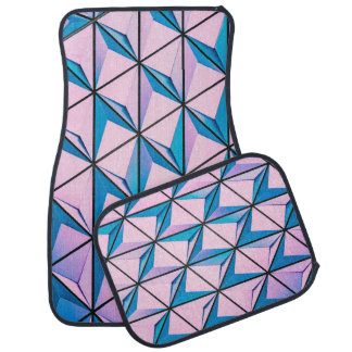 Pink and Blue Geometric Pattern Car Mat
