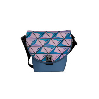 Pink and Blue Geometric Pattern Commuter Bags