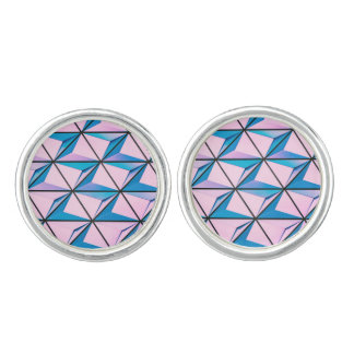 Pink and Blue Geometric Pattern Cuff Links
