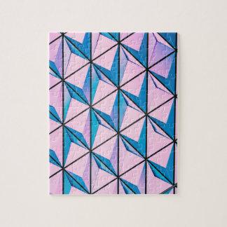 Pink and Blue Geometric Pattern Jigsaw Puzzle