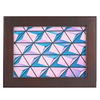 Pink and Blue Geometric Pattern Keepsake Box