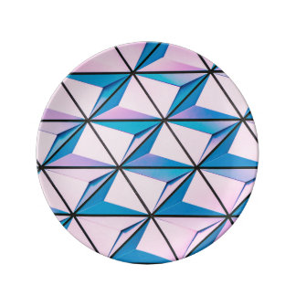 Pink and Blue Geometric Pattern Plate