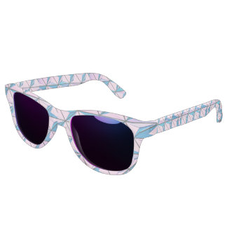 Pink and Blue Geometric Pattern Sunglasses