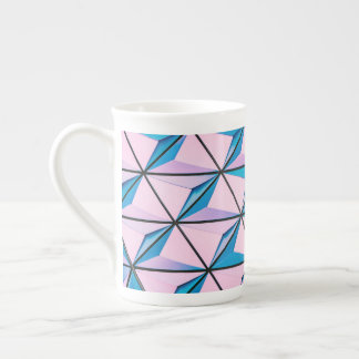 Pink and Blue Geometric Pattern Tea Cup