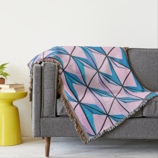 Pink and Blue Geometric Pattern Throw Blanket