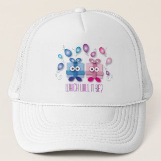 Pink and Blue Gift Boxes Gender Reveal Baby Shower Trucker Hat