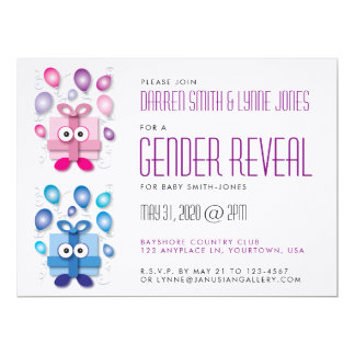 Pink and Blue Gift Boxes Gender Reveal Invitation