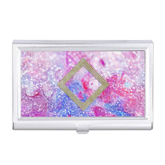 Pink And Blue Glitter Abstract Business Card Holder