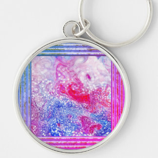 Pink And Blue Glitter Abstract Keychain