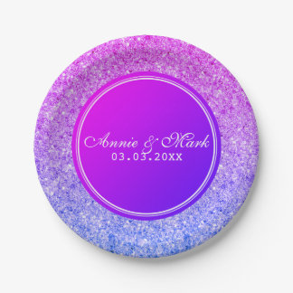 Pink And Blue Glitter- Save The Date Paper Plate