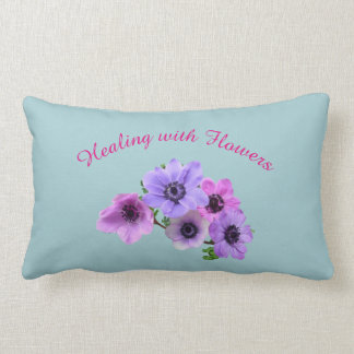 Pink and blue Healing with Flowers Anenome design Lumbar Pillow