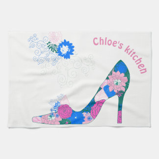 Pink and Blue High Heel Shoe Kitchen Towel
