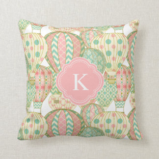 Pink and Blue Hot Air Balloons with Monogram Throw Pillow
