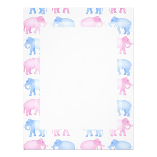 Pink and Blue Indian Elephant Pattern Letterhead