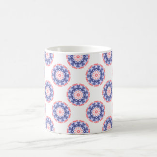 Pink and Blue Kaleidoscope Floral Pattern Coffee Mug