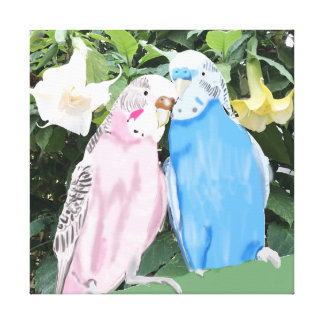 Pink and Blue Kissing Budgies and Angel Trumpets Canvas Print