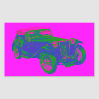 Pink and Blue Mg Tc Antique Car Pop Art Sticker