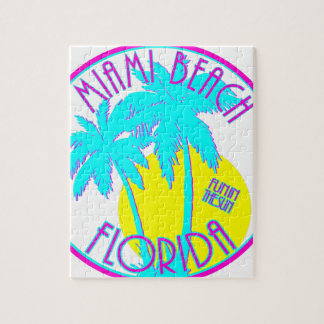 Pink and Blue Miami Beach Florida Logo Gear Jigsaw Puzzle