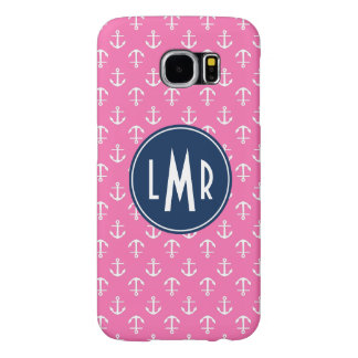 Pink and Blue Monogram Anchors Pattern Samsung Galaxy S6 Cases