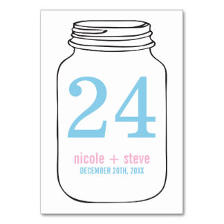 Pink and Blue Monogram Mason Jar Wedding Table Cards