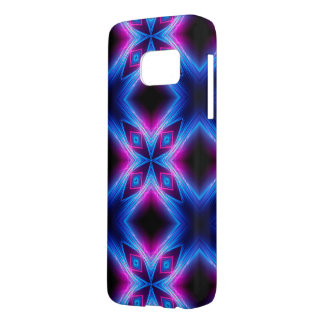 Pink and Blue Neon Abstract Rays Samsung Galaxy S7 Case