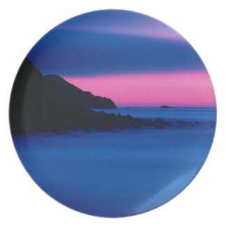 """Pink and Blue Ocean Sunset Melamine Plates"""" Plate"""