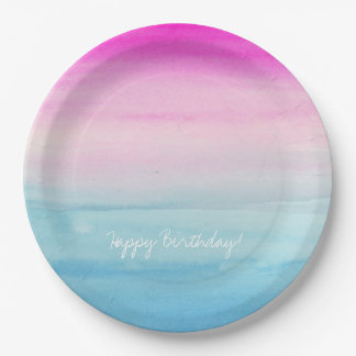 Pink and Blue Ombre Watercolor Paper Plate