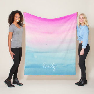 Pink and Blue Ombre Watercolor Personalized Fleece Blanket