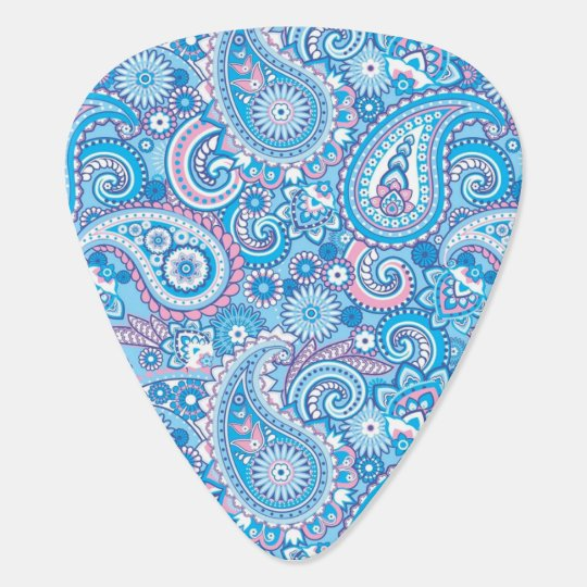 Pink and blue paisley pattern guitar pick
