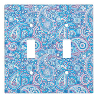 Pink and blue Paisley pattern Light Switch Cover