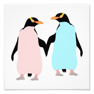 Pink and blue Penguins holding hands. Art Photo