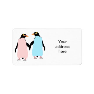 Pink and blue Penguins holding hands. Label