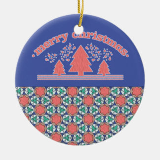 Pink and Blue Personalized Christmas Ornament