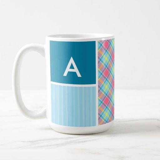Pink and Blue Plaid Coffee Mug