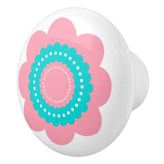 Pink and Blue Polka Dot Flower Ceramic Knob