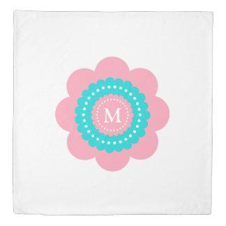 Pink and Blue Polka Dot Flower Monogram Duvet Cover