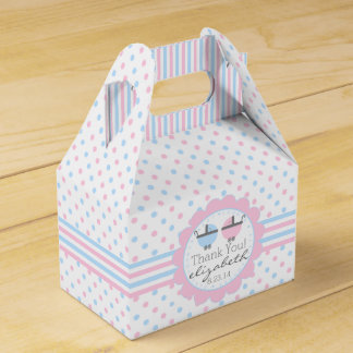 Pink and Blue Polka Dots Baby Shower Favor Box