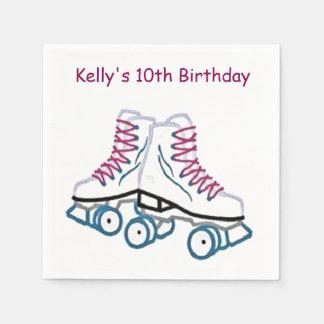 Pink and Blue Roller Skate Paper Napkins