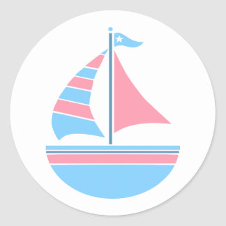 Pink and Blue Sailboat Nautical Stickers