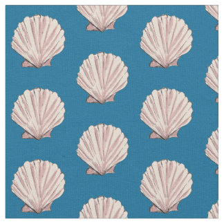 Pink and Blue Scallop Shell Pattern Fabric
