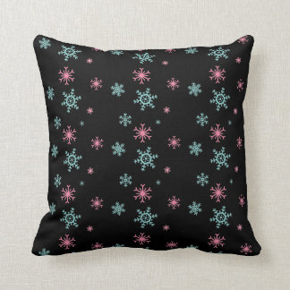 Pink And Blue Snowflake Pattern Christmas Wintery Throw Pillow