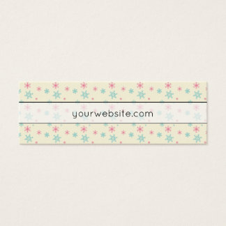 Pink And Blue Snowflake Pattern Festive Wintery Mini Business Card