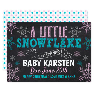 Pink and Blue Snowflake Pregnancy Announcement
