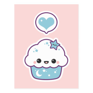 Pink and Blue Space Cake Postcard