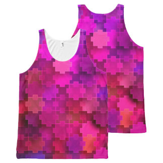 Pink and Blue Square Puzzle Pieces Pattern All-Over-Print Tank Top