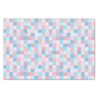 Pink and Blue Squares Tissue Paper