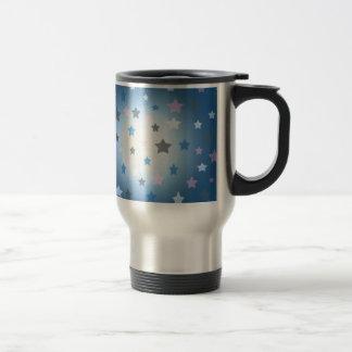 Pink and blue stars design pattern travel mug
