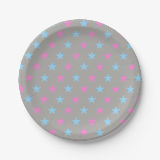 Pink And Blue Stars Paper Plate